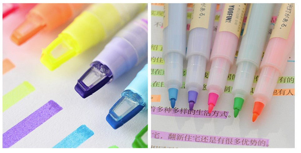 Candy Color Dual Tip Highlighter,Chisel/Window tip-Set of 6