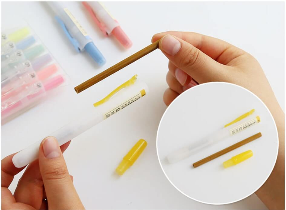 Capless Colorful Highlighter,Chisel Tip,Transparent Pushable Fluorescent Pens