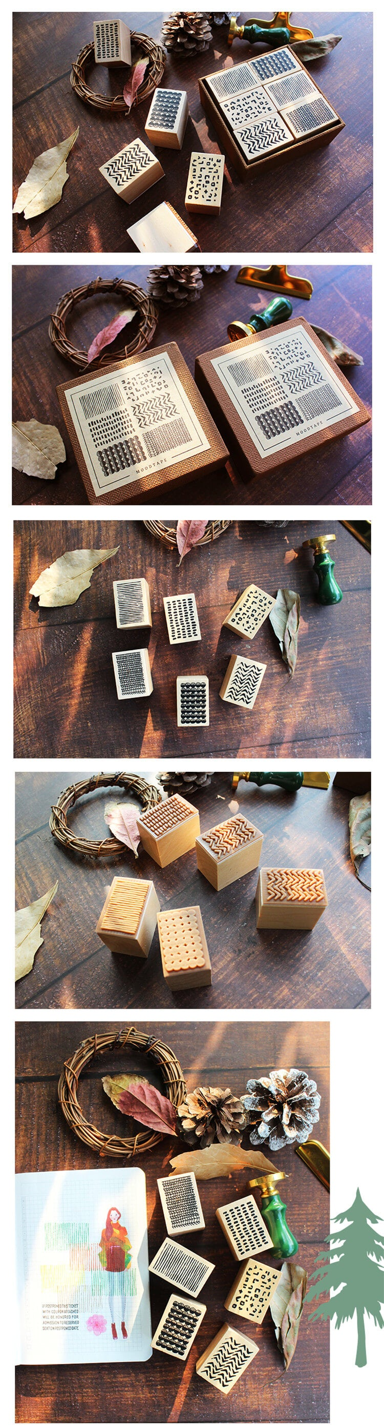 Geometric Backgroud Wooden Stamp-2