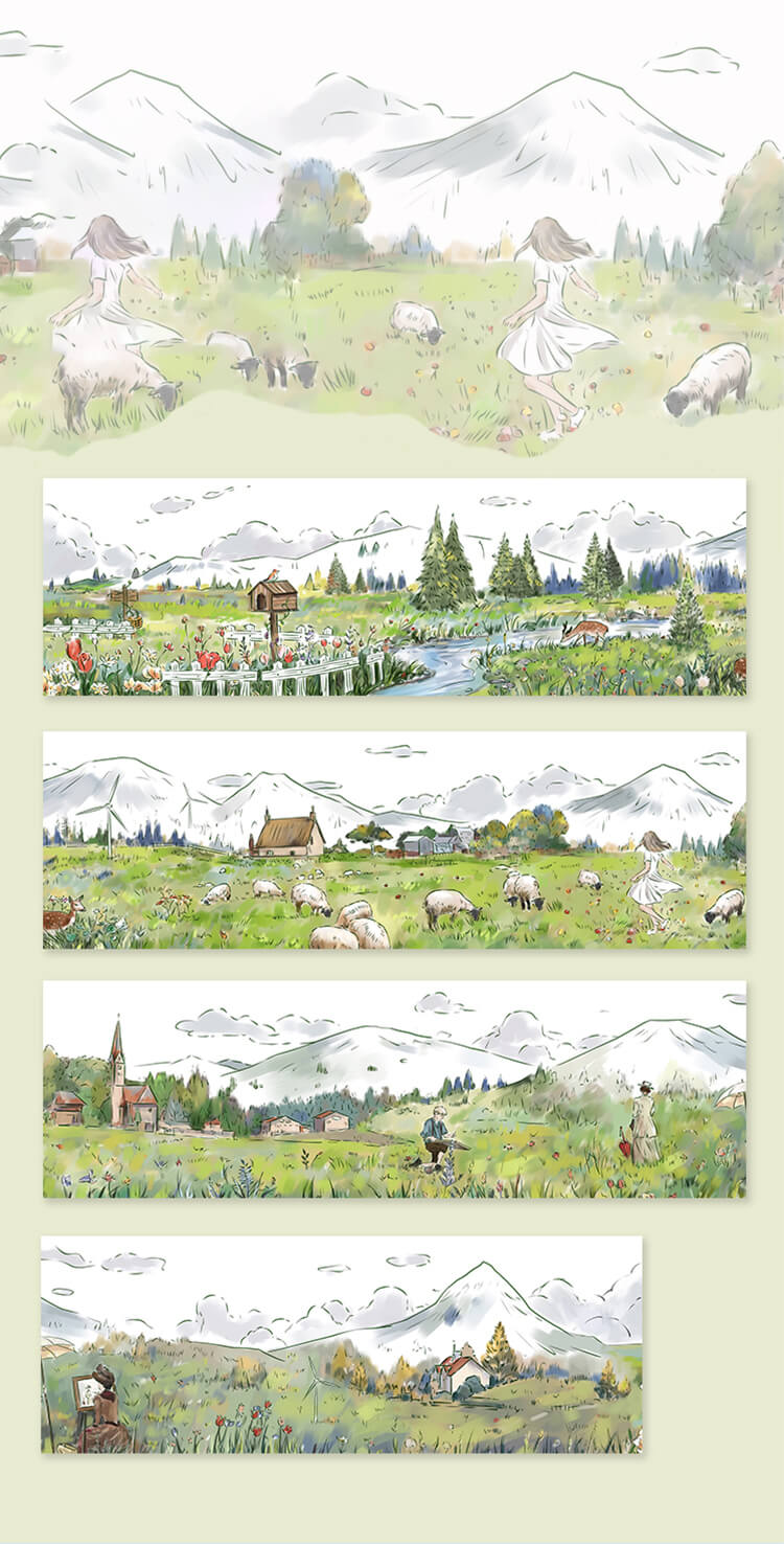 Nature Forest MeadowThemed Washi Tape
