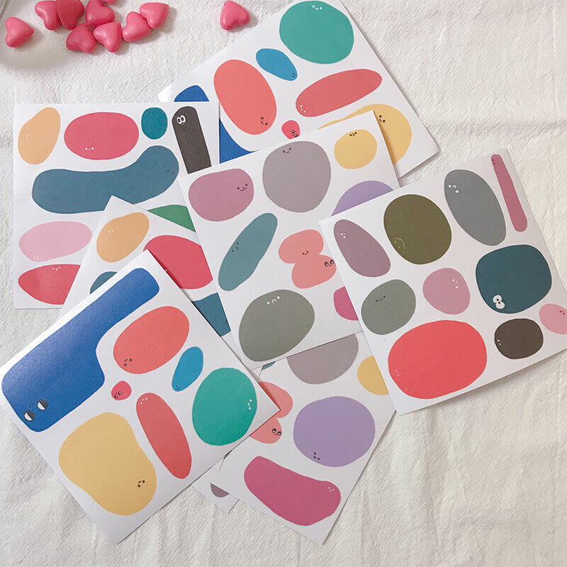 Color Blocks Cute Round Shapes Themed Stickers