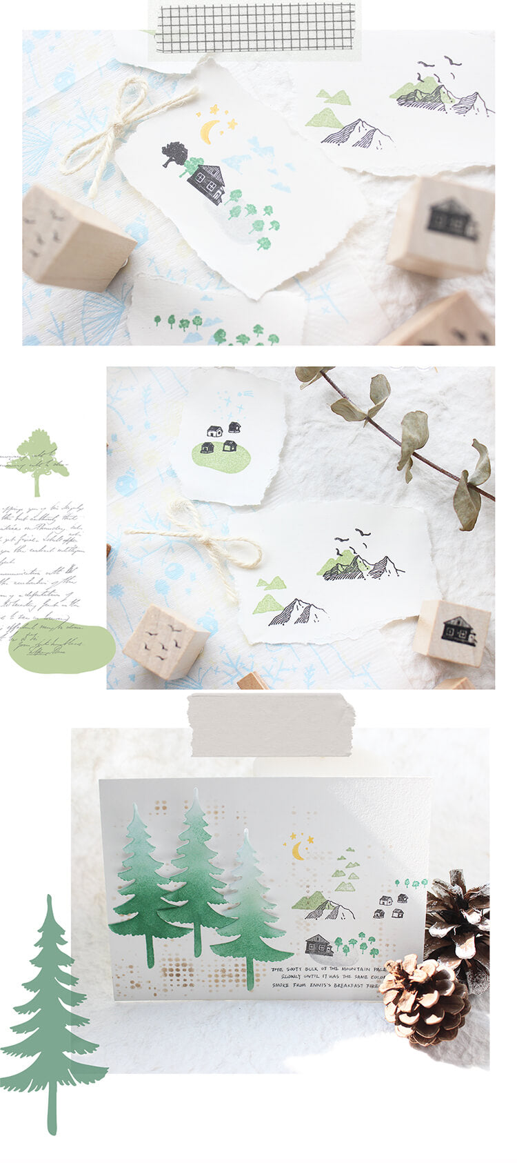 Forest Plant Tree Mountains Leaf Moon Stamp Set