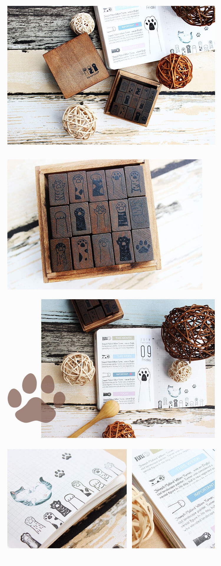 Cute Cat Paw Wooden Stamp Set