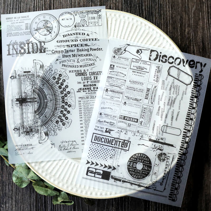 Vintage Black and White Parchment Sticker