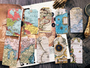 Vintage Maps Tag Tim Holtz Style Sticker