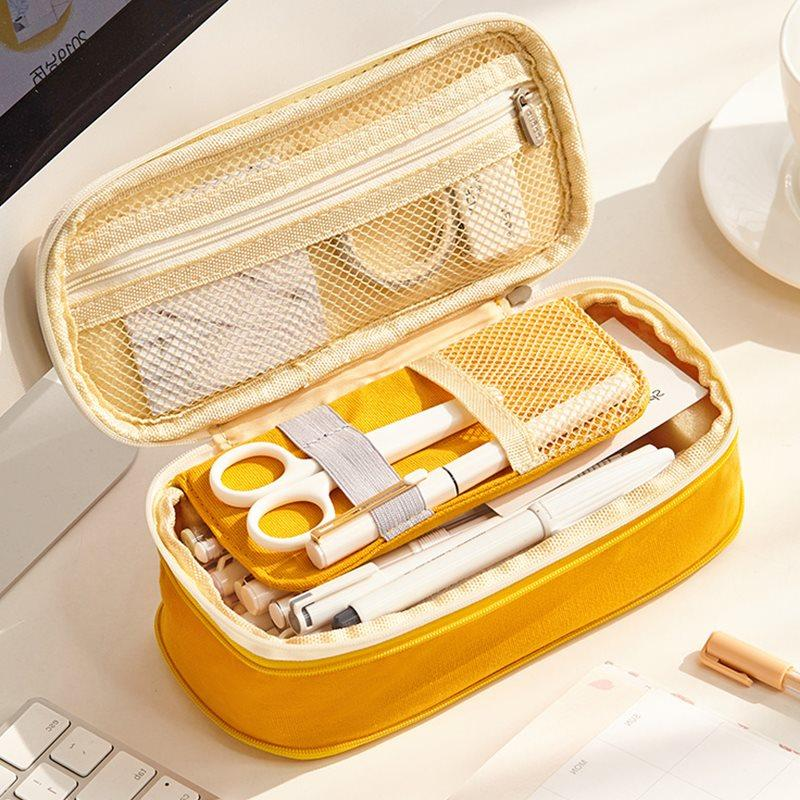 Macarons Color Lunch Box Shape Large Capacity Pen Case
