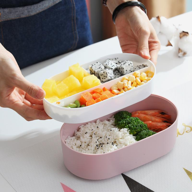 Built-in PP Bento Lunch Box with Wooden Lid