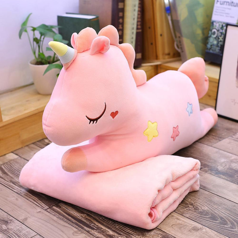 Unicorn Pillow & Blanket Cushion Plush Toy-Pink(doll 75cm + blanket 1.7m)-MoMoChoice