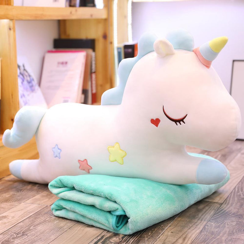 Unicorn Pillow & Blanket Cushion Plush Toy-White/Blue(doll 75cm + lanket 1.7m)-MoMoChoice