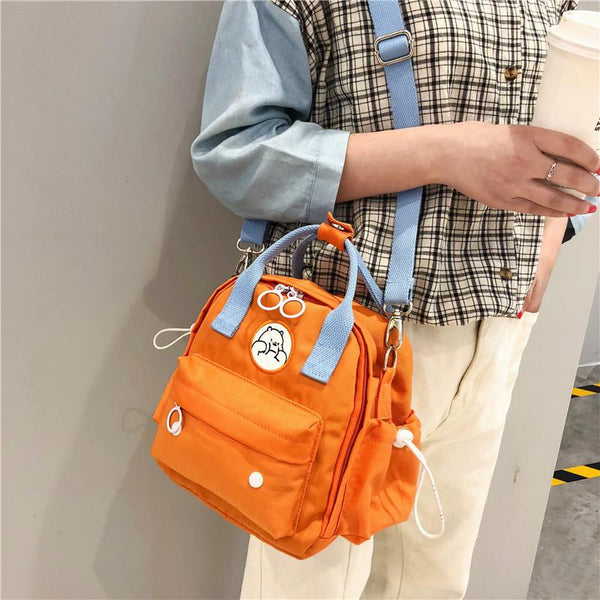 Mini Multi-Function Canvas Shoulder Bag Backpack