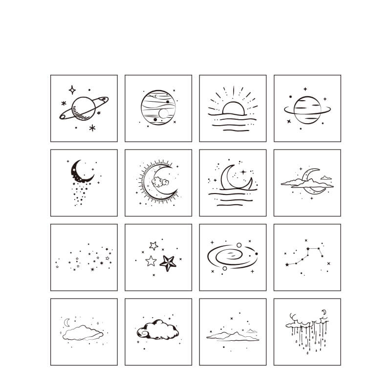 The Moon and Sixpence Themed Stamp-Set of 16