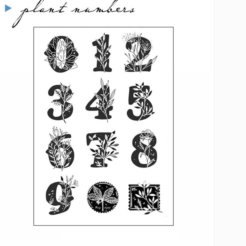 Plants Numbers Clear Stamp