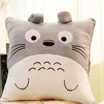 Totoro Pillow & Blanket Cushion Plush Toy-Square / Pillow + Large Blanket-MoMoChoice