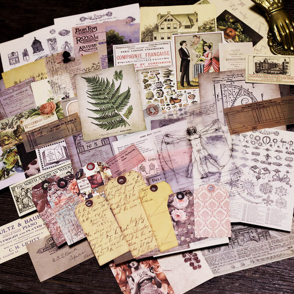 59 pcs Vintage Photos Tags Trademark Mixed Pack-3