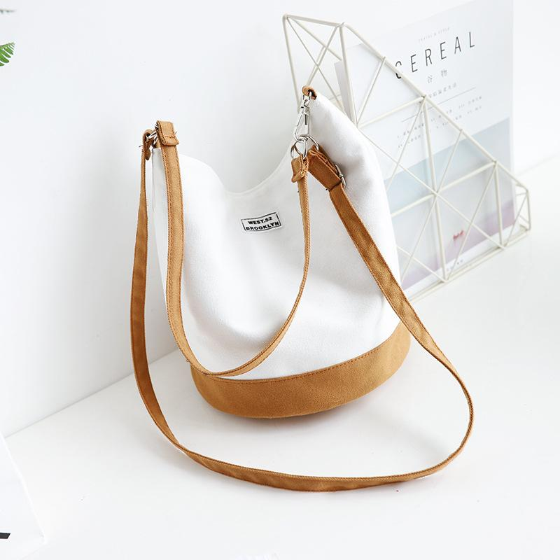 Chic Literary Canvas Bucket Bag Shoulder Bag