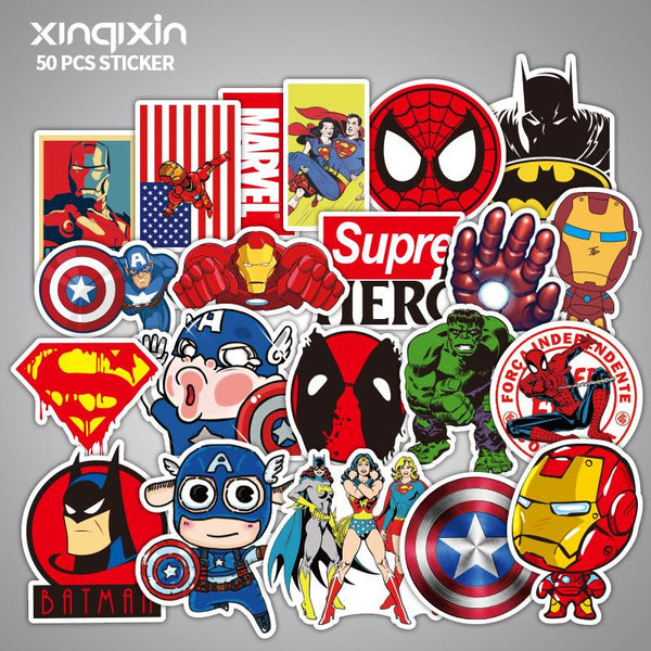 50pcs Marvel Sticker Bomb for Luggage Skateboard Guitar