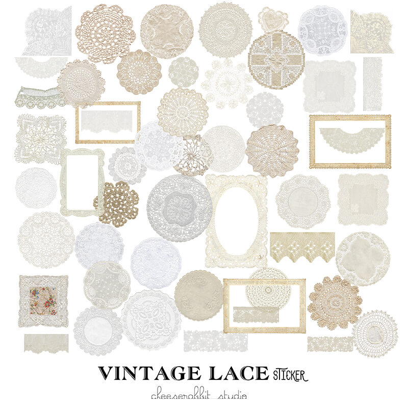 Vintage Lace Themed Sticker Series-1