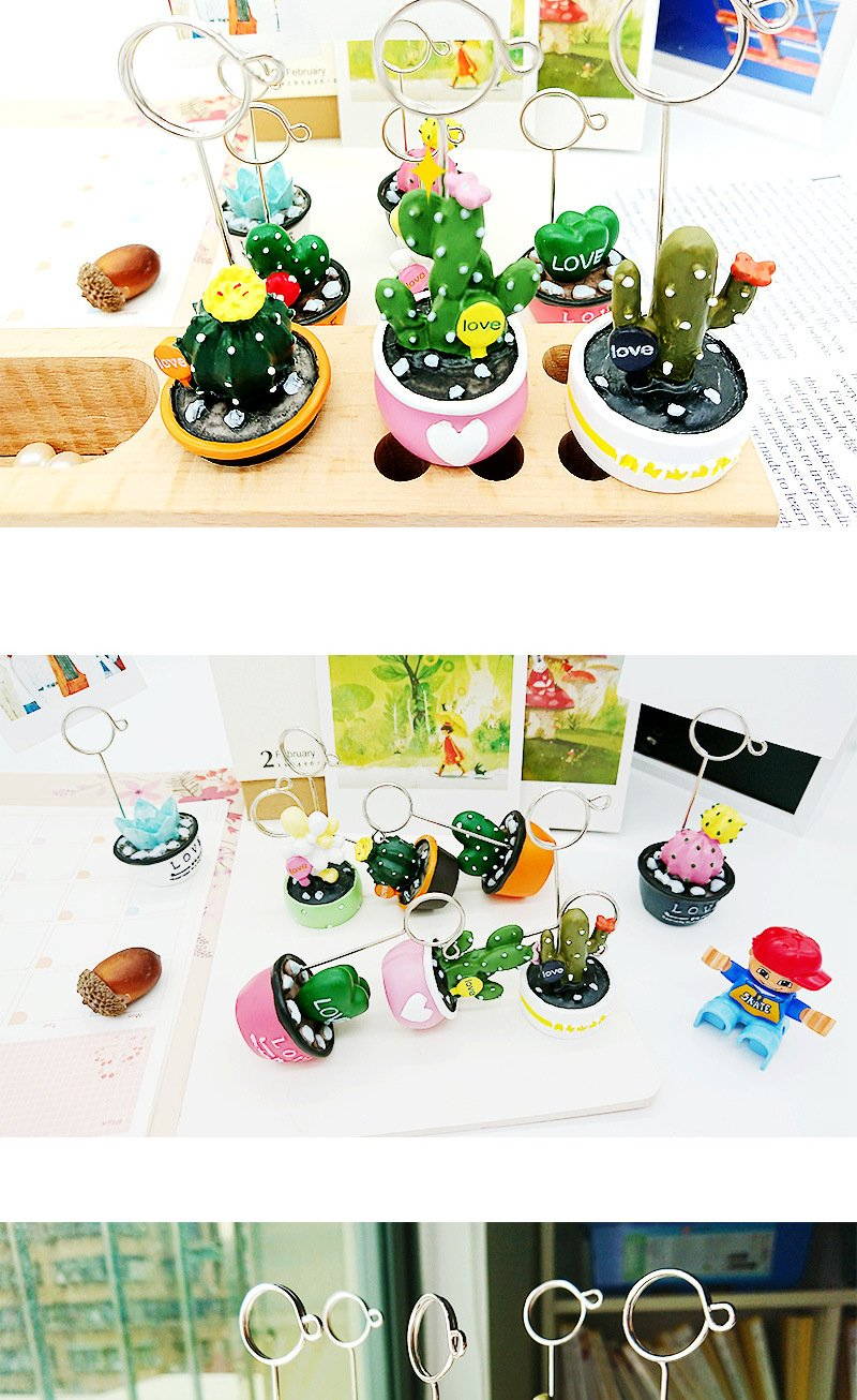 Cactus Picture Stand Photo Holder Card Note Memo Clip