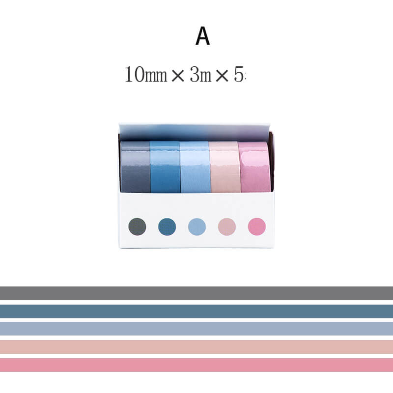 Solid Colors Washi Tape Set-5 Rolls