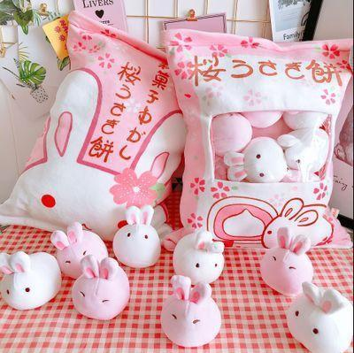 Sakura Rabbit Ball Plush Toy White/Pink Plushie in Bag Gift-[variant_title]-MoMoChoice