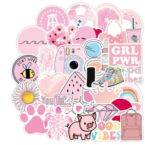 50 pcs Pink Girl's Stuff Sticker Bomb