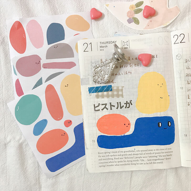 8 pcs Color Blocks Cute Round Shapes Themed Stickers