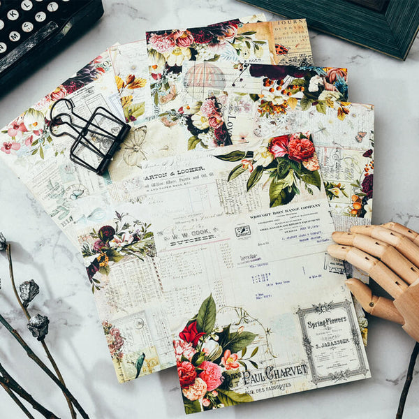 16 pcs Vintage Flower Themed Paper Pack
