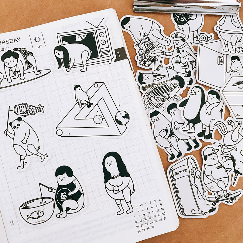 21 pcs Funny Weird Cute Animal Themed Stickers