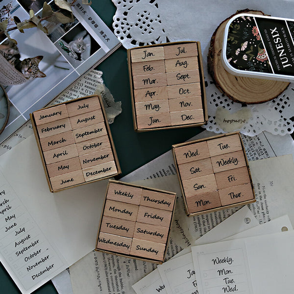 Week/Month Wooden Stamp Set