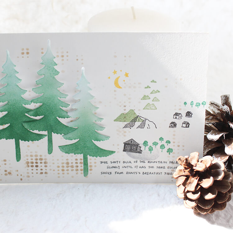 Forest Plant Tree Mountains Leaf Moon Stamp Set-Set of 19
