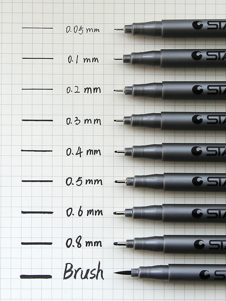 Black Fineliner Pen-Set of 9