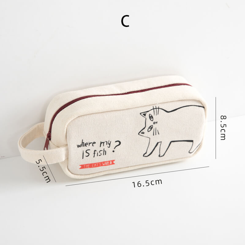 Cute Cat Canvas Pen Case Large Capacity