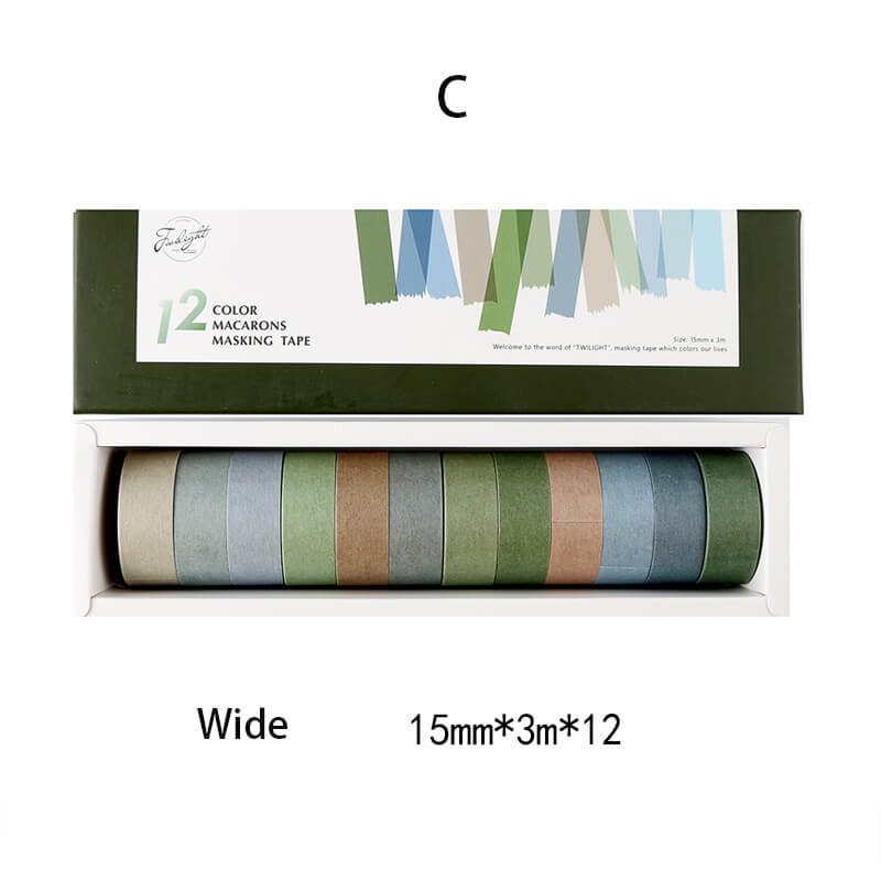 Basic Retro Color Washi Tape Set-12 Rolls