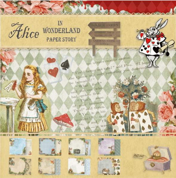 24 pcs Alice's Adventures in Wonderland Paper Pack