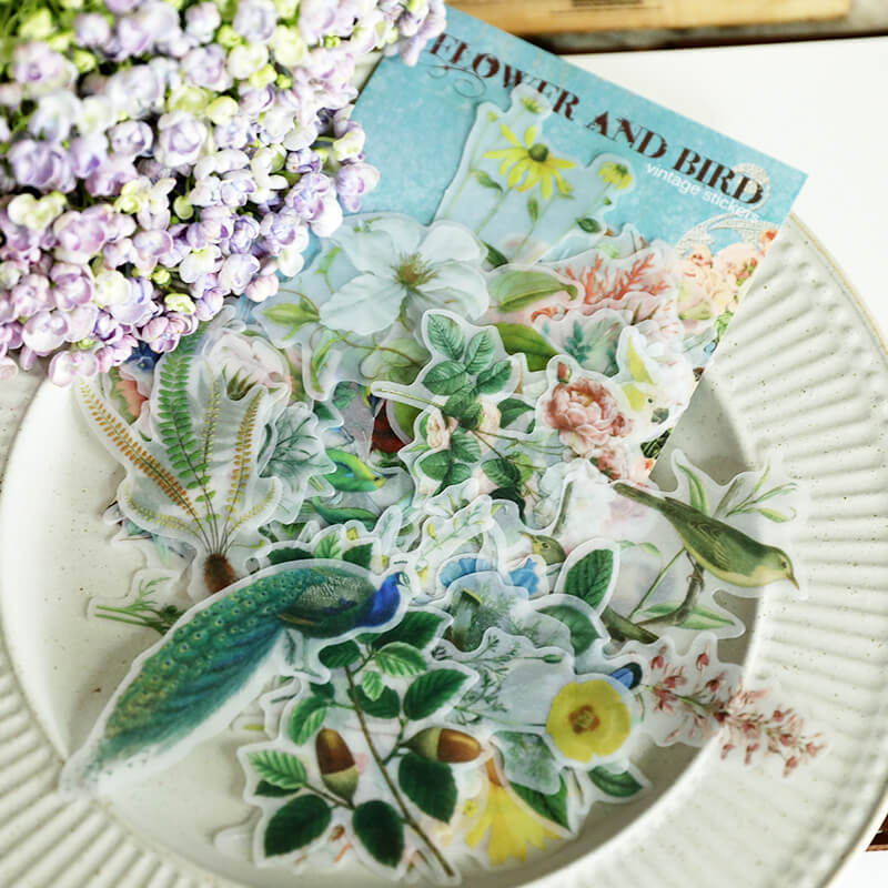 56 pcs Birds Flower Themed Sticker