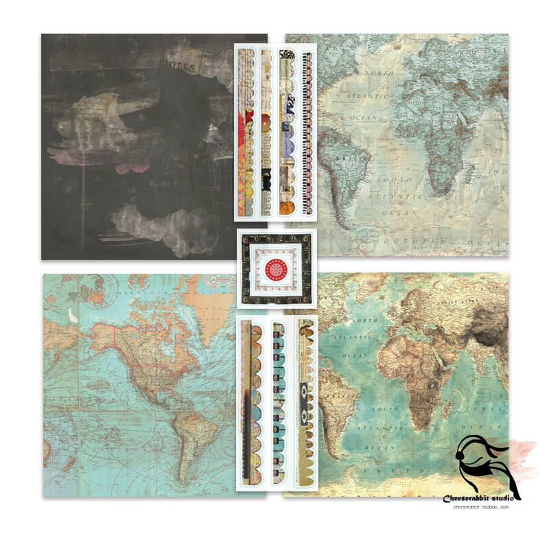 10 pcs Vintage background parchment texture paper sticker pack