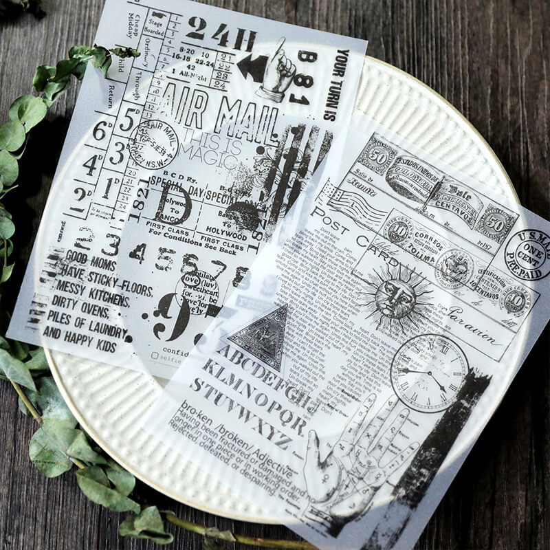 8 pcs Vintage Black and White Parchment Sticker