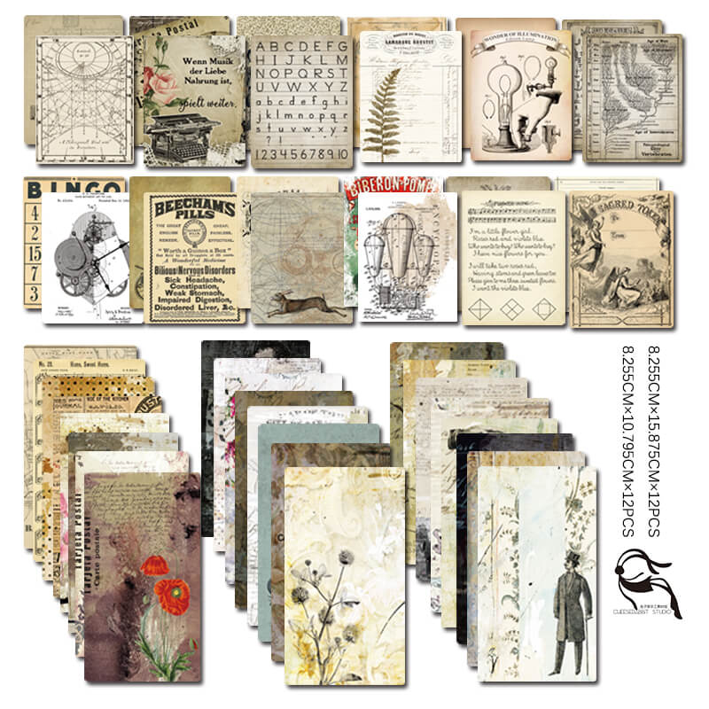 24 pcs Vintage Newspaper Musical Themed Paper Pack