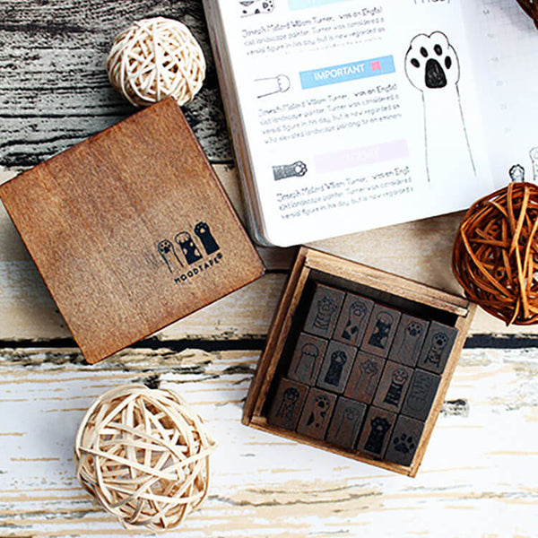 Cute Cat Paw Wooden Stamp Set-Set of 15