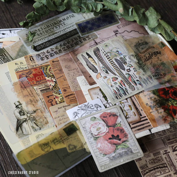 50 pcs Vintage Mixed Junk Journal Kit Pack