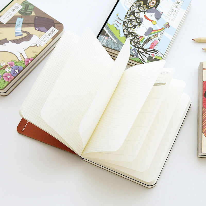 Traditional Japanese style Kawaii Cat Notebook Planner