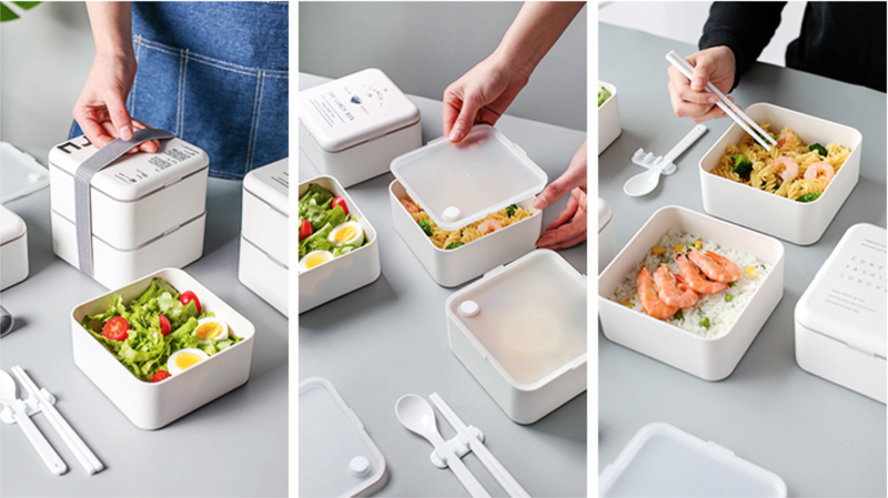 Double-layer Square PP Bento Lunch Box