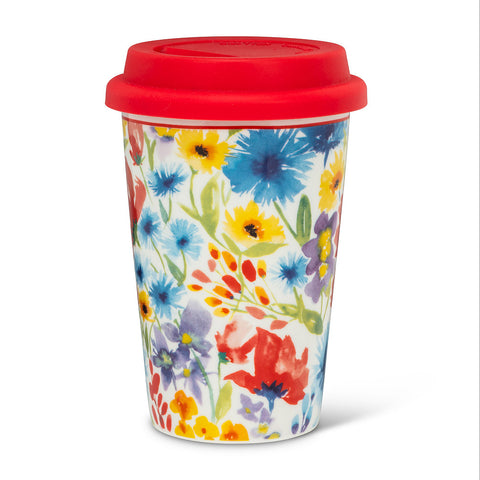 Allover Flower Takeaway Ceramic Cup