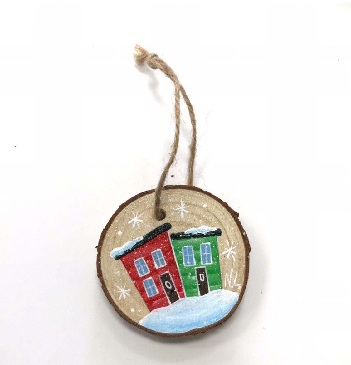Hand painted Wood Slice Ornaments