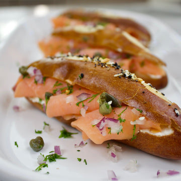 Everything Spice Smoked Salmon Pretzels