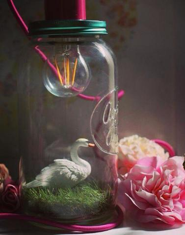 Swan Beauty Night Light Jar