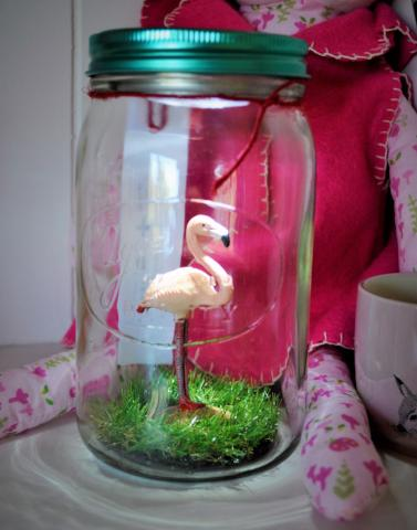 Pink Flamingo Light Jar