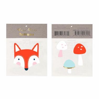 Fox and Mushrooms Meri Meri Temporary Tattoos