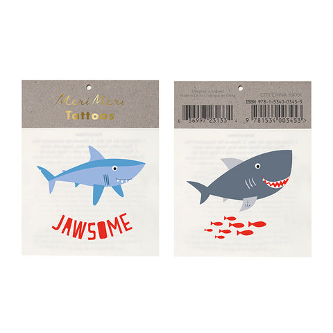 """Jawesome"" Shark Meri Meri Temporary Tattoos"