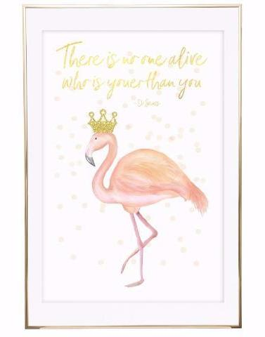Flamingo Print - Pink and Gold